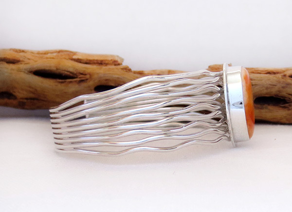 Image 2 of     Orange Spiny Oyster & Sterling Silver Bracelet Navajo Jewelry - 3225sn