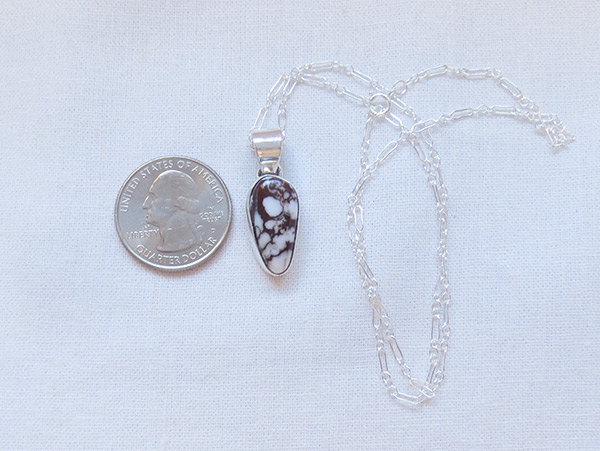 Image 1 of     Wild Horse Stone & Sterling Silver Pendant W/Chain Navajo Jewelry - 3226sn