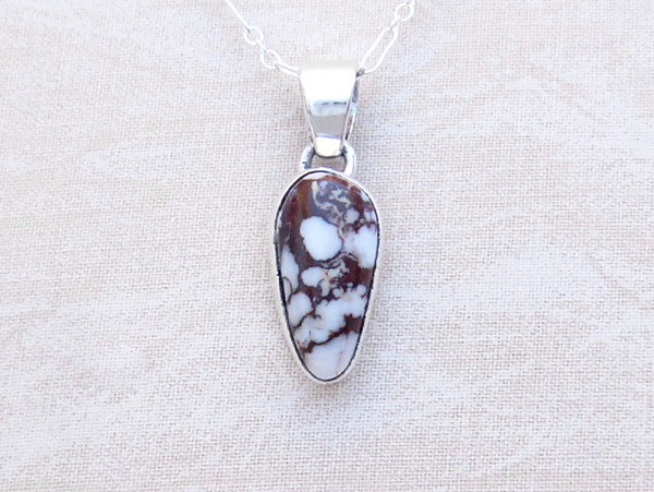 Wild Horse Stone & Sterling Silver Pendant W/Chain Navajo Jewelry - 3226sn