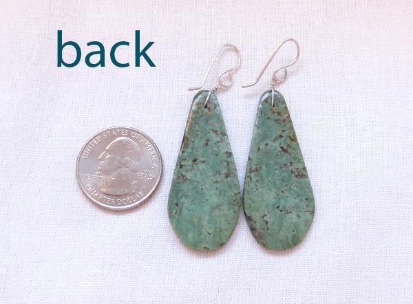 Image 2 of Large Green Turquoise Slab Earrings Native American Kewa - 3218rio