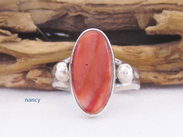 Image 0 of   Red Spiny Oyster & Sterling Silver Ring Sz 6.75 Navajo Jewelry - 3228sn