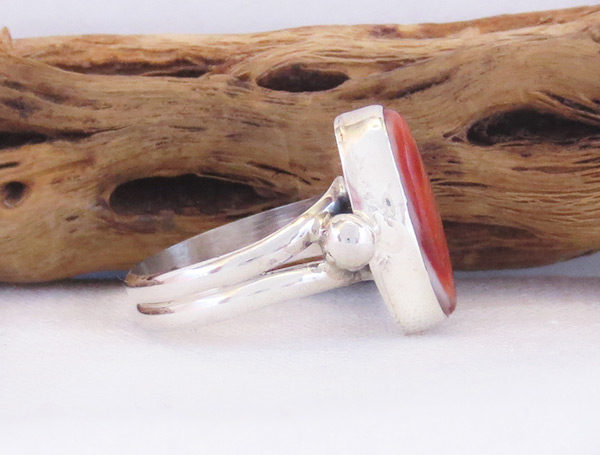 Image 2 of   Red Spiny Oyster & Sterling Silver Ring Sz 6.75 Navajo Jewelry - 3228sn