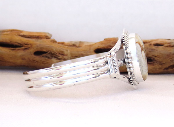 Image 2 of Boulder Turquoise & Sterling Silver Bracelet Navajo Jewelry - 3227sn