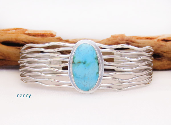Image 0 of     Turquoise & Sterling Silver Bracelet Native American Jewelry - 3243sn