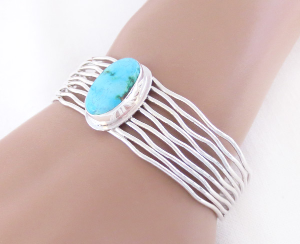 Image 1 of     Turquoise & Sterling Silver Bracelet Native American Jewelry - 3243sn