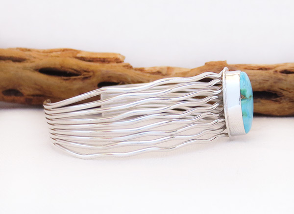 Image 2 of     Turquoise & Sterling Silver Bracelet Native American Jewelry - 3243sn