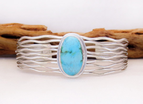 Turquoise & Sterling Silver Bracelet Native American Jewelry - 3243sn