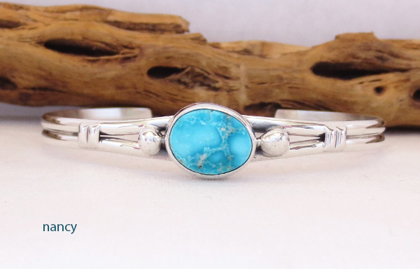 Image 0 of    Turquoise & Sterling Silver Bracelet Native American Jewelry - 3241sn