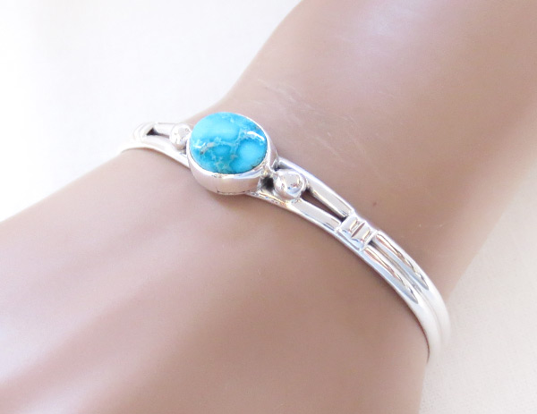 Image 1 of    Turquoise & Sterling Silver Bracelet Native American Jewelry - 3241sn