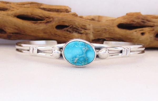 Turquoise & Sterling Silver Bracelet Native American Jewelry - 3241sn