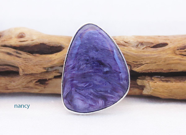 Charoite & Sterling Silver Ring Sz 8 Native American Jewelry - 3257sn