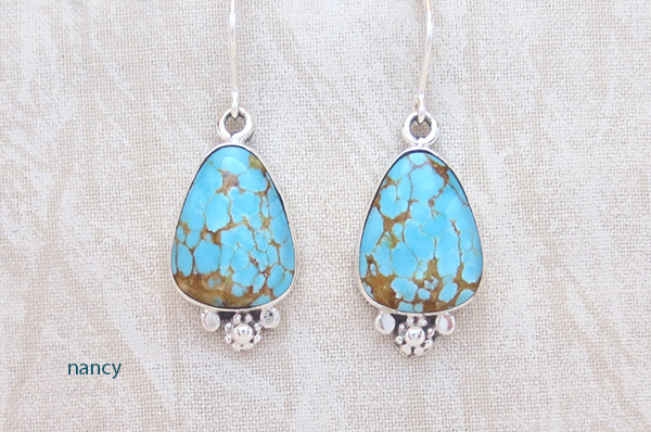 Image 0 of Number #8 Turquoise & Sterling Silver Earrings Navajo Jewelry - 3607sn