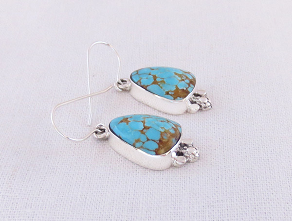 Image 1 of Number #8 Turquoise & Sterling Silver Earrings Navajo Jewelry - 3607sn