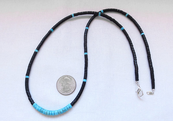 Turquoise Black Jet Shell Heishi Necklace 24 Kewa Jewelry - 3612rio