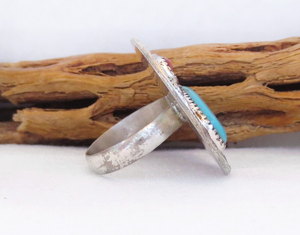 Image 1 of        Vintage Pawn Turquoise Coral & Sterling Silver Ring Size 9.25 - 6004vt