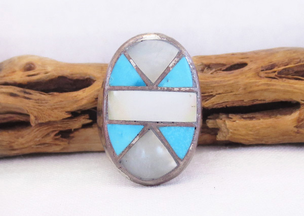 Old Vintage Mop Turquoise Ring Sz 9.25 Southwest Jewelry - 6003vt