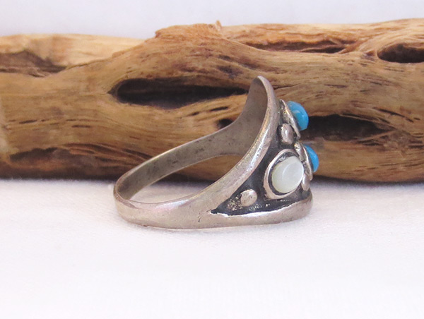 Image 1 of Old Vintage Mop Turquoise Ring Sz 8.5 Southwest Jewelry - 6012vt