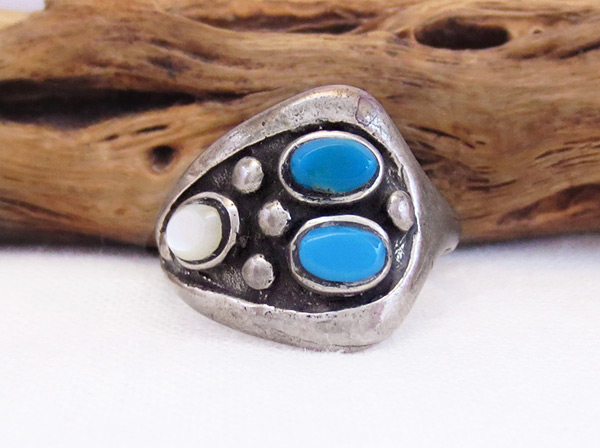 Old Vintage Mop Turquoise Ring Sz 8.5 Native American Jewelry - 6012vt