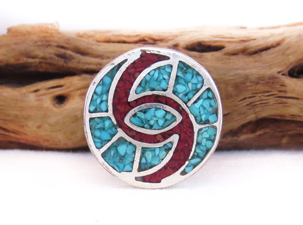 Vintage Turquoise Coral Chip Inlay Ring Sz 6 Southwest  Jewelry - 6008vt
