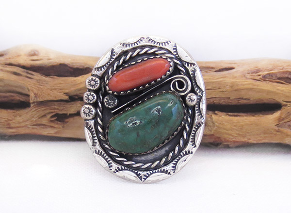 Vintage Pawn Turquoise Coral & Sterling Silver Ring Ss 10.5 - 6017vt