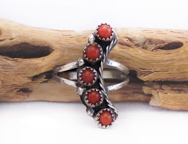 Vintage Pawn Coral & Sterling Silver Ring Sz 7 Southwest Jewelry - 6015vt