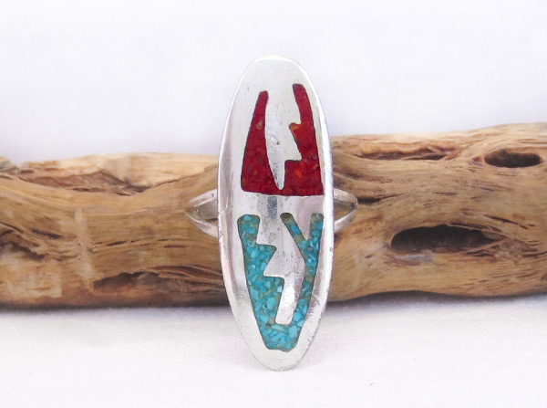 Old Turquoise Coral Chip Inlay Ring Sz 6.75 Southwest Jewelry - 6024vt
