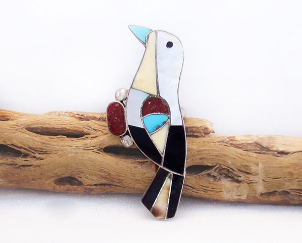 Image 0 of  Vintage Pawn Turquoise Inlay Bird & Sterling Silver Ring Size 7.5 - 6023vt