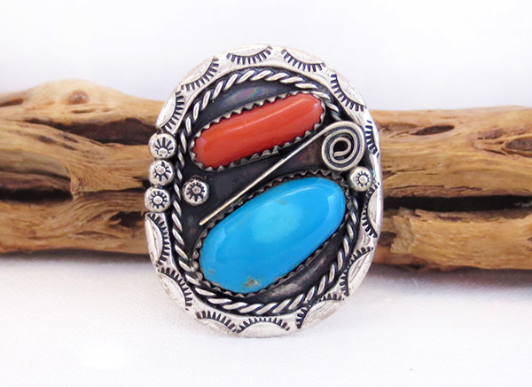 Image 0 of Pawn Turquoise Coral & Sterling Silver Ring Sz 12 Southwest Jewelry - 6026vt