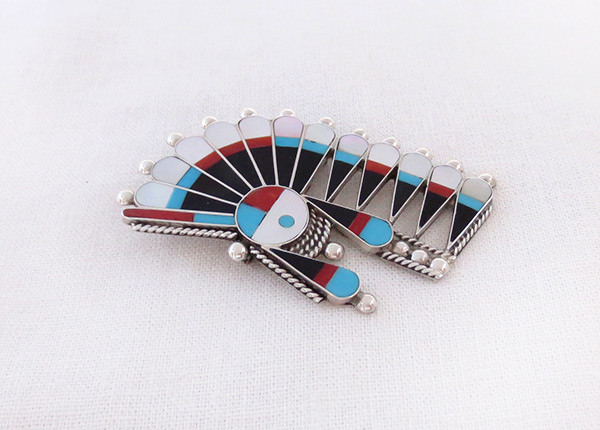 Image 2 of  Turquoise Jet Inlay Sun Face Pendant / Pin Zuni Jewelry - 3645rb