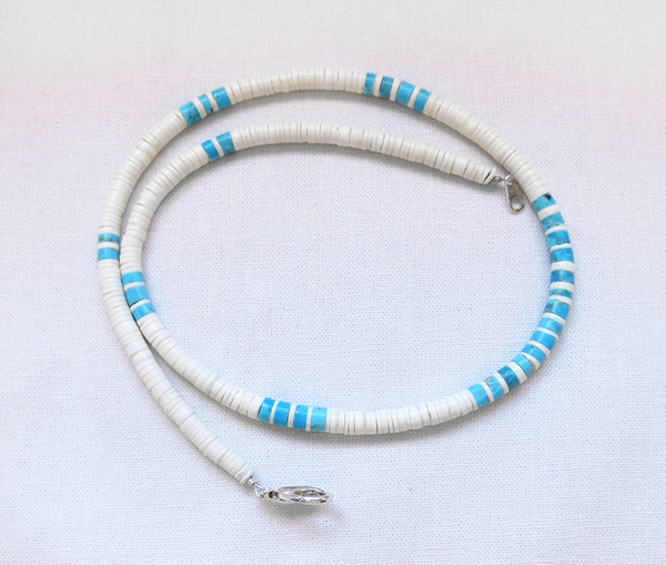 Turquoise White Clam Shell Heishi Necklace Santo Domingo Jewelry - 3617rio