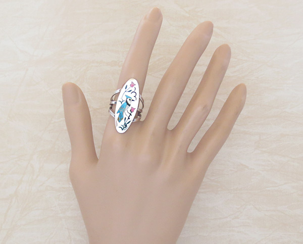 Image 1 of     Bluebird Inlay Ring Sz 7.5 Zuni Native American Jewelry - 5392rb