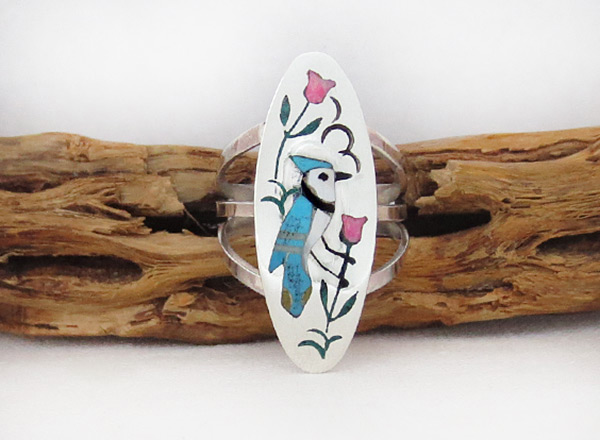 Image 0 of     Bluebird Inlay Ring Sz 7.5 Zuni Native American Jewelry - 5392rb