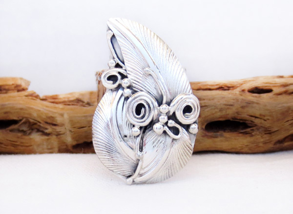 Large Sterling Silver Leaf Ring Sz 9.5 Native American Jewelry - 3260rb