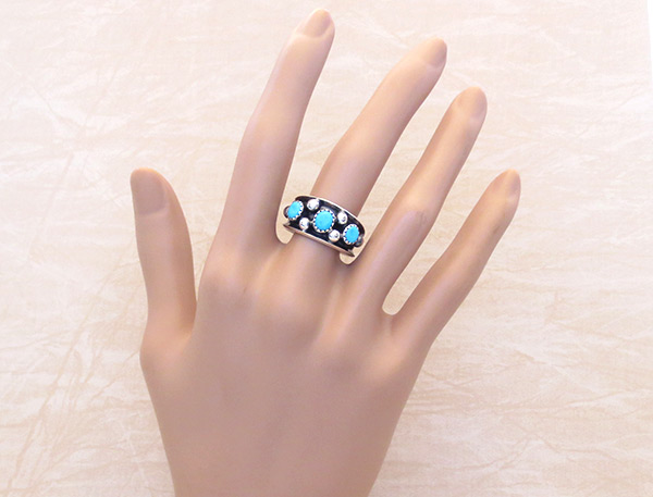 Image 1 of      Turquoise & Sterling Silver Ring Sz 9 Navajo Jewelry - 3259rb