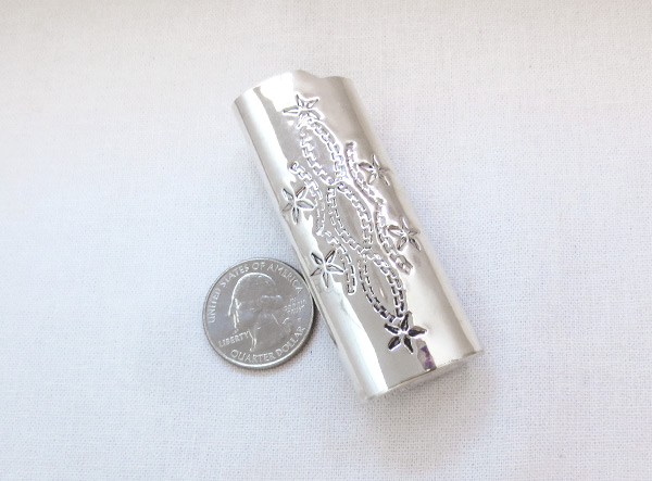 Image 1 of    Turquoise Coral & Sterling Silver Lighter Case Native American - 3620rb
