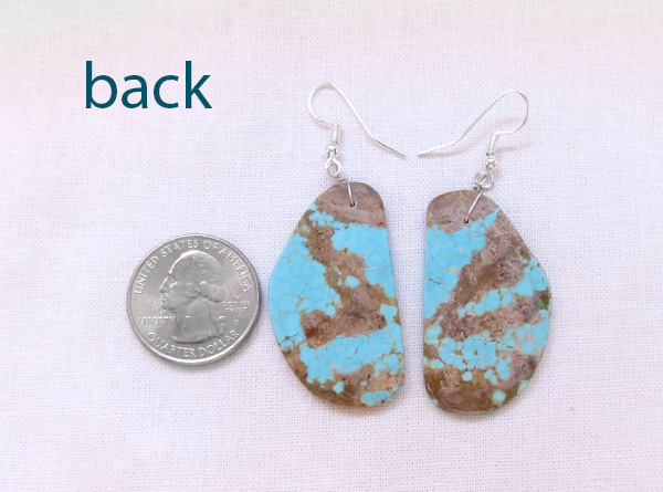 Image 2 of Native American Jewelry #8 Mine Turquoise Slab Earrings - 3619dt