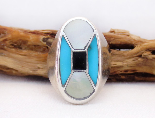 Old Vintage Mop Turquoise Ring Sz 10 Southwest Jewelry - 6028vt