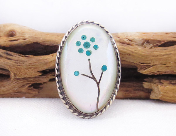 Old Vintage Mop Turquoise Flower Ring Sz 5.25 Southwest Jewelry - 6031vt