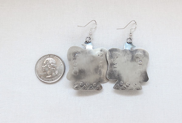 Image 2 of     Turquoise & Sterling Silver Thunderbird Earrings Navajo Jewelry - 3624rio