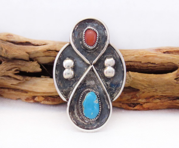 Image 0 of Old Vintage Coral Turquoise Ring Sz 7.75 Native American Jewelry - 6034vt