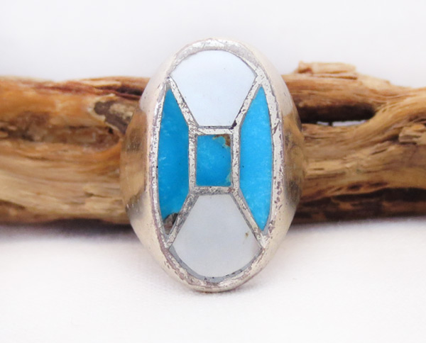Image 0 of Old   Vintage Mop Turquoise Ring Sz 8 Southwest Jewelry - 6032vt
