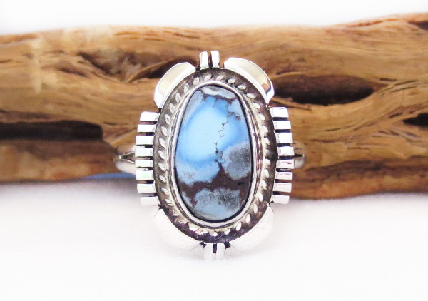 Golden Hill Turquoise & Sterling Silver Ring Sz 9 Navajo Jewelry - 3114rio