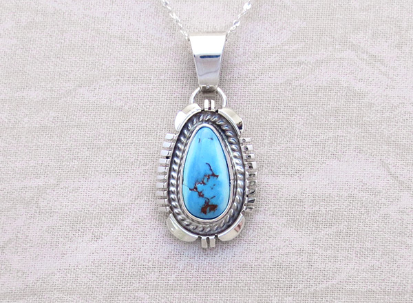 Golden Hill Turquoise & Sterling Silver Pendant Navajo Made- 3108rio
