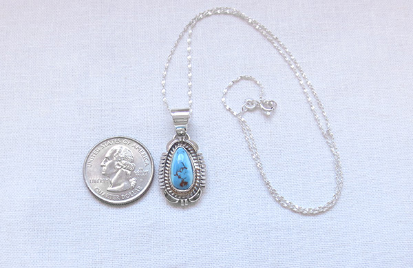 Image 1 of     Golden Hill Turquoise & Sterling Silver Pendant Navajo Made- 3108rio