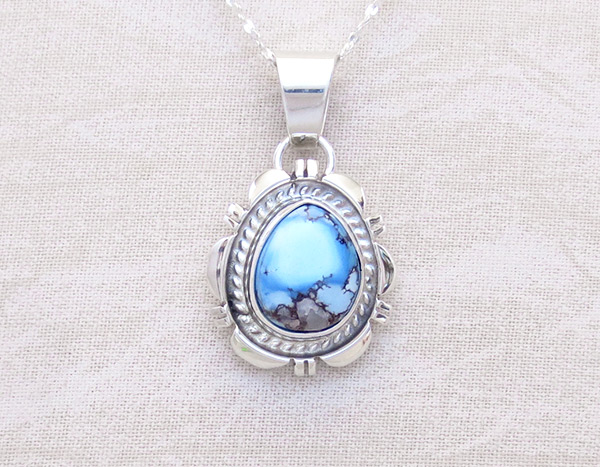 Image 0 of   Golden Hill Turquoise & Sterling Silver Pendant Navajo Made - 3118rio