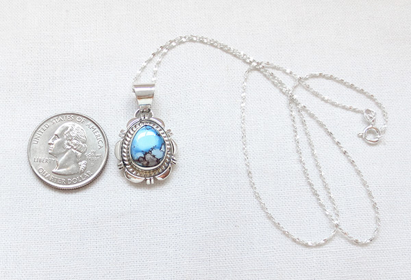 Image 1 of   Golden Hill Turquoise & Sterling Silver Pendant Navajo Made - 3118rio