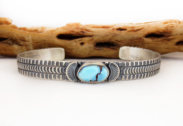 Golden Hill Turquoise & Sterling Silver Bracelet Navajo Made - 3116rio