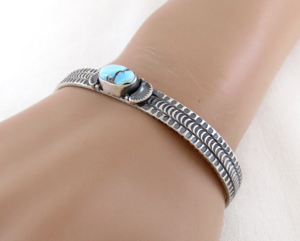 Image 1 of   Golden Hill Turquoise & Sterling Silver Bracelet Navajo Made - 3116rio