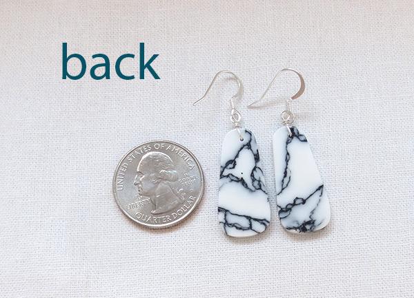 Image 2 of     Howlite Slab Earrings Native American Jewelry - 3115rio