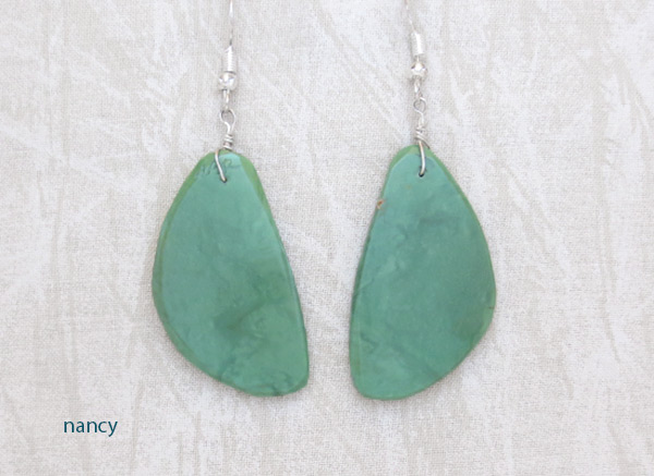 Image 0 of    Green Turquoise Slab Earrings Santo Domingo Made - 3625rio